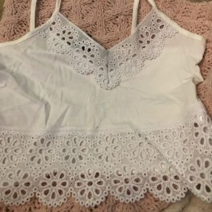 Tops - White Lacey crop top